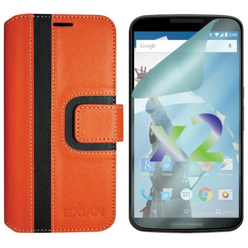 Étui folio portefeuille d'Exian pour Nexus 6 - Orange - Noir
