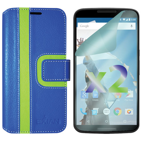 Exian Nexus 5 Wallet Folio Case - Blue/Green