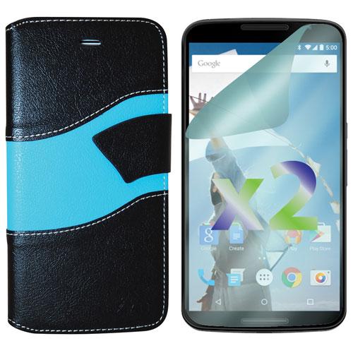 Exian Nexus 6 Wallet Folio Case - Black/Blue