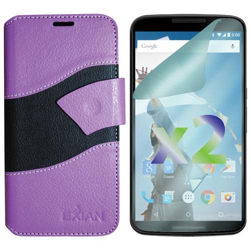 Exian Nexus 6 Wallet Folio Case - Purple/Black