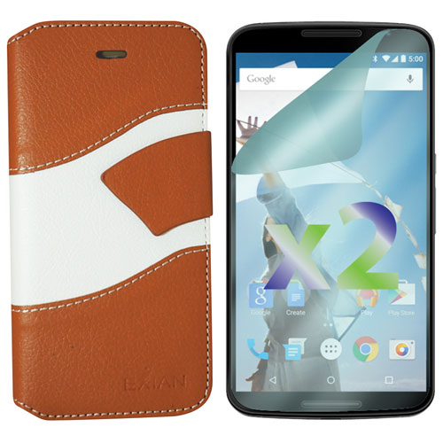 Exian Nexus 6 Wallet Folio Case - Beige/White