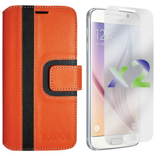 Exian Samsung Galaxy S6 Wallet Folio Case - Orange/Black