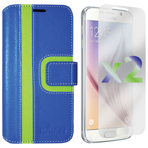 Exian Samsung Galaxy S6 Wallet Folio Case - Blue/Green