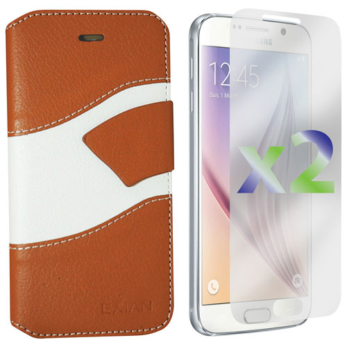 Exian Samsung Galaxy S6 Wallet Folio Case - Beige/White