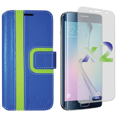 Exian Samsung Galaxy S6 Edge Wallet Folio Case - Blue/Green
