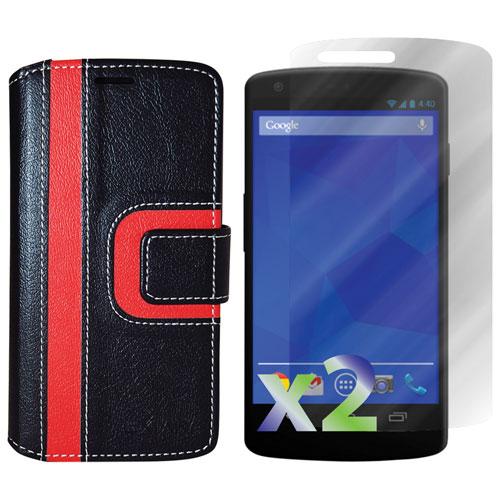 Exian Nexus 5 Wallet Folio Case - Black/Red