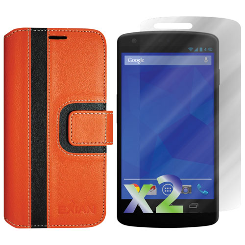 Exian Nexus 5 Wallet Folio Case - Orange/Black