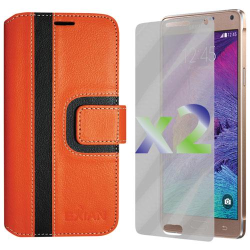 Exian Samsung Galaxy Note 4 Wallet Folio Case - Orange/Black
