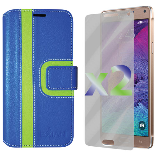 Exian Samsung Galaxy Note 4 Wallet Folio Case - Blue/Green