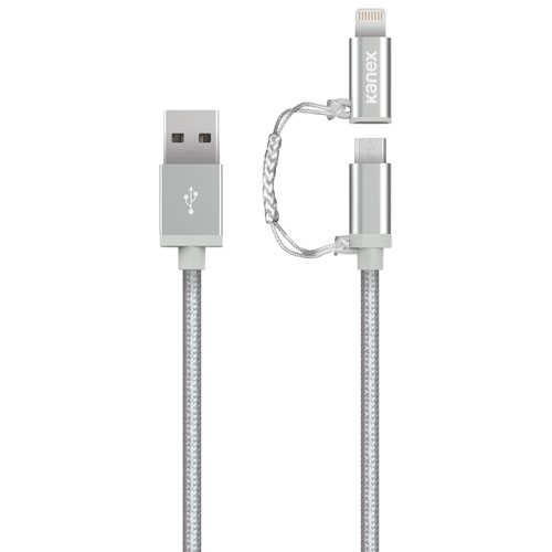 Kanex Premium Duo 2-in-1 microUSB/Lightning Connector to USB Charge/Sync Cable (K8PMU4FPSV) - Silver