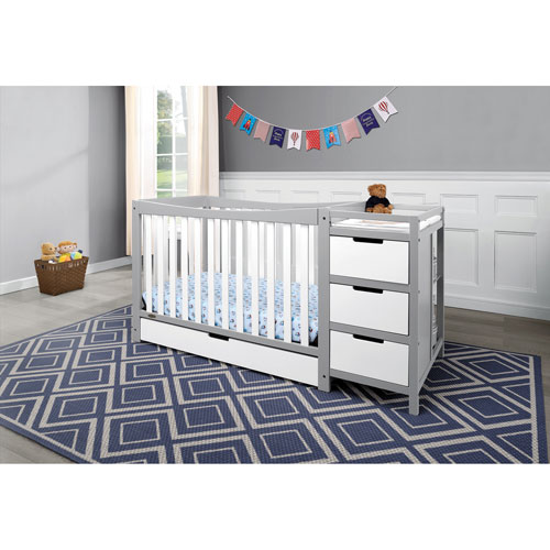 Lit de b b transformable table langer 4 en 1 remi de graco blanc gris galet lits de - Lit bebe table a langer integree ...