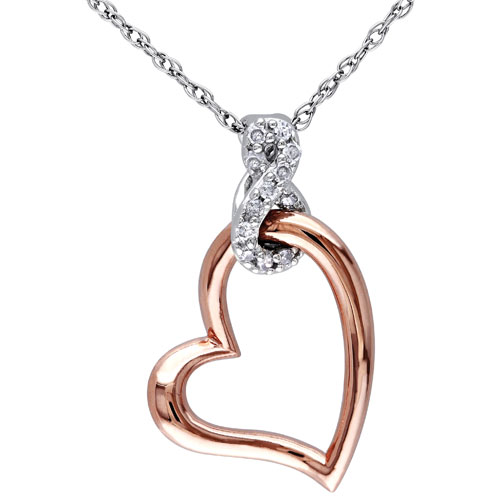 Classic 10K White Gold Chain with White Round 0.05ctw I2-I3 Diamond Heart & Infinity Pendant Necklace