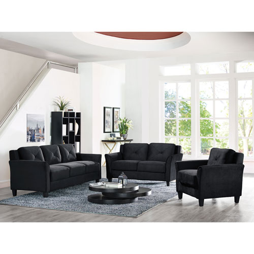 Marvelous Hartford Transitional Micro Suede Sofa   Black : Sofas   Best Buy Canada