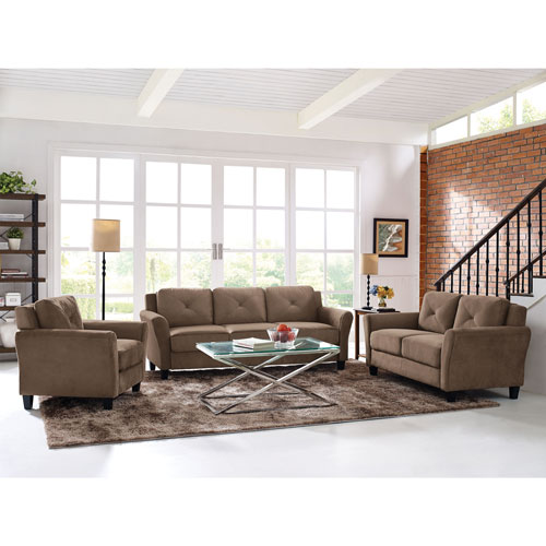 Hartford Transitional Micro Suede Sofa   Light Brown