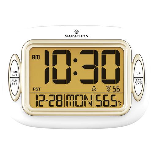 Marathon Atomic Clock with Temperature & Date (CL030051WH) - White