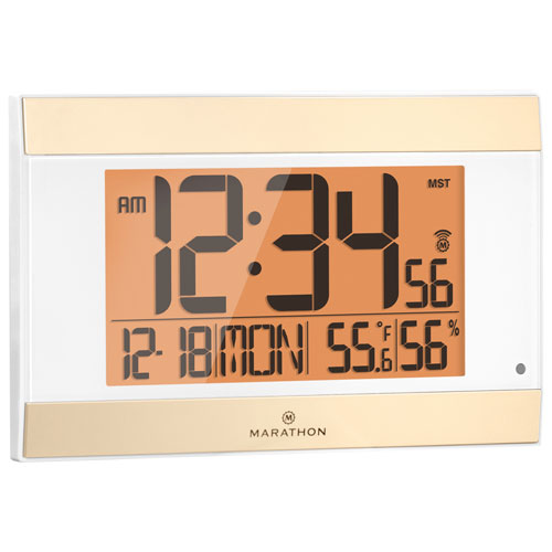 Marathon Atomic Digital Wall Clock with Temperature & Humidity Indicator (CL030052WH) - White
