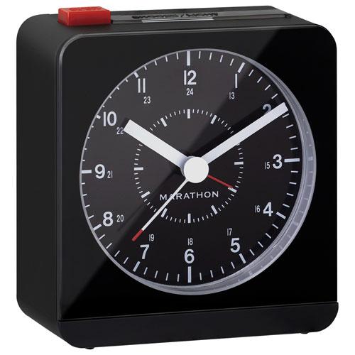Cadran analogique avec alarme de Marathon avec éclairage nocturne automatique (CL030053BK) - Noir