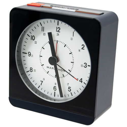 marathon analog desk alarm clock with auto night light cl030053bl blue clocks best buy. Black Bedroom Furniture Sets. Home Design Ideas