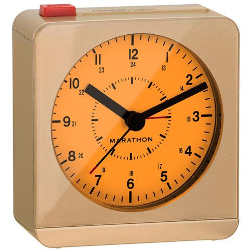Marathon Analog Desk Alarm Clock with Auto-Night Light (CL030053GD) - Gold