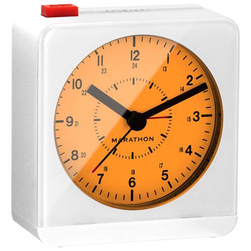 marathon analog desk alarm clock with auto night light cl030053wh white clocks best buy. Black Bedroom Furniture Sets. Home Design Ideas