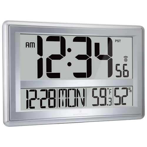 Marathon Jumbo Atomic Wall Clock with Table Stand (CL030056SV) - Silver