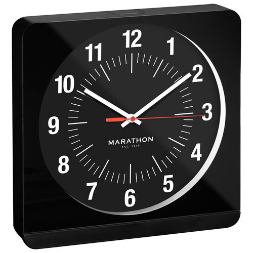 Marathon Auto Night Light Analog Wall Clock Black