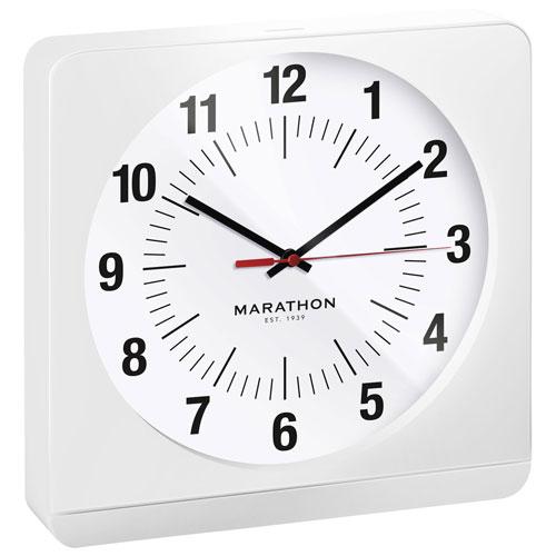 Marathon Auto Night Light Jumbo Analog Wall Clock (CL030057WH-WH1) - White