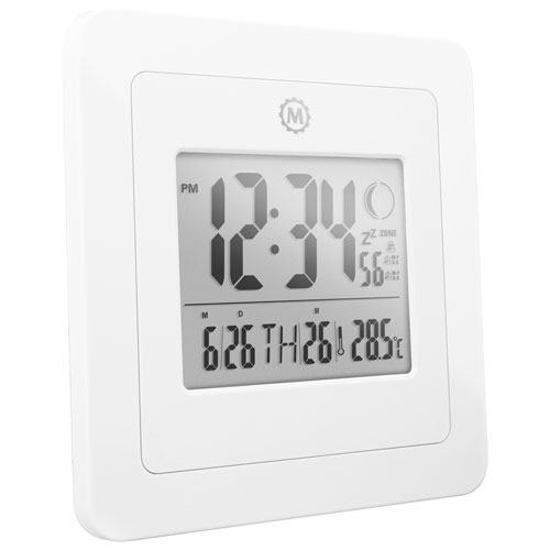 Marathon Digital Wall Clock with Moon Phase Display (CL030049WH) - White