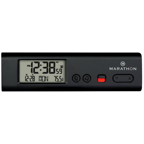 Marathon Compact Atomic World Clock with LED (CL030045BK) - Black