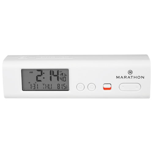 Marathon Compact Atomic World Clock with LED (CL030045WH) - White