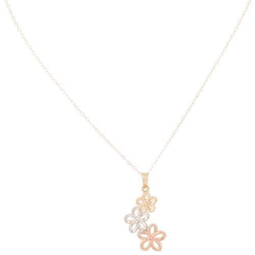 Classic 10k gold chain with triple flower pendant necklace classic 10k gold chain with triple flower pendant necklace necklaces best buy canada mozeypictures Image collections