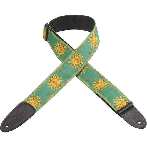 """Levy's Leathers Sun 2"""" Jacquard Weave Guitar Strap - Green"""