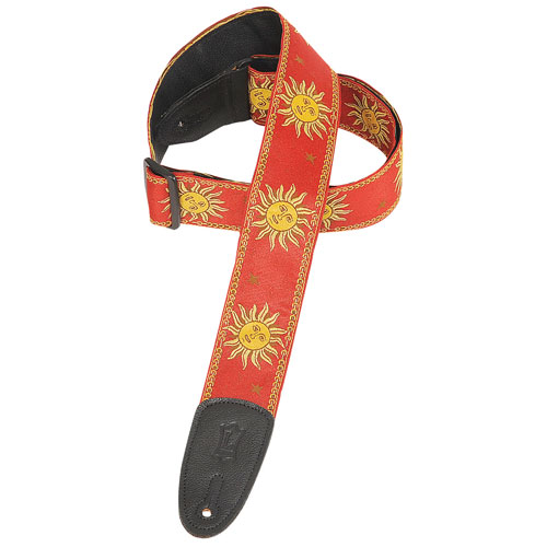 """Levy's Leathers Sun 2"""" Jacquard Weave Guitar Strap - Red"""