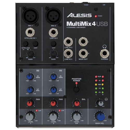 Alesis MultiMix 4 USB FX 4-Channel Tabletop Mixer