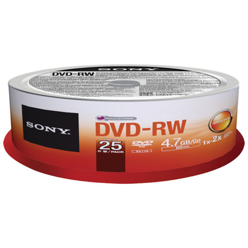 Sony 2X 4.7GB DVD-RW Spindle - 25 Pack