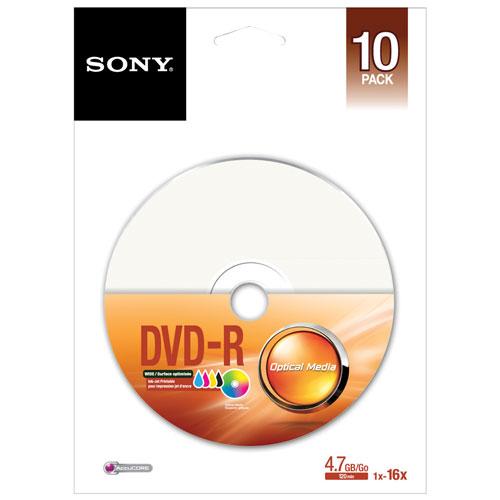 Sony 16X 4.7GB Peg Printable DVD-R - 10 Pack