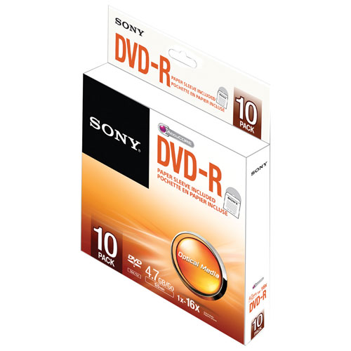 Sony 48X 700MB DVD-R with Paper Envelopes - 10 Pack