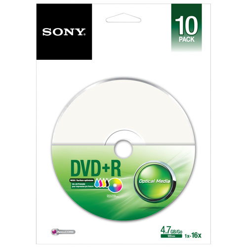 Sony 4X 4.7GB Printable DVD+R - 10 Pack