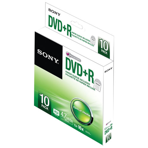 Sony 10-Pack 4.7GB 16X DVD+R with Paper Sleeves