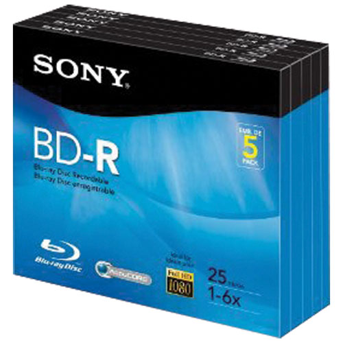 Sony 6X 25GB BD-R - 5 Pack