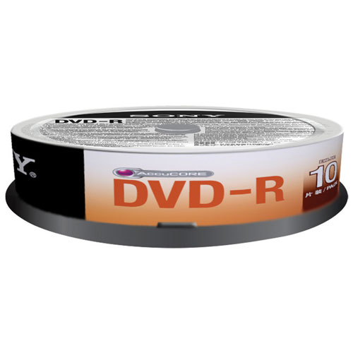 Sony 16X 4.7GB DVD-R Spindle - 10 Pack