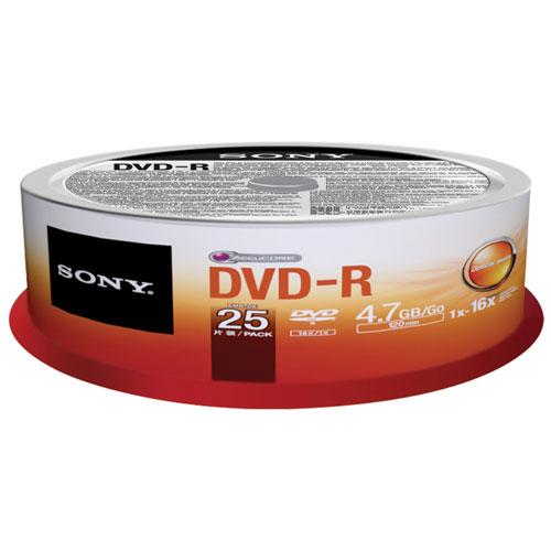 Disques DVD-R 16X de 4,7 Go de Sony - Paquet de 25