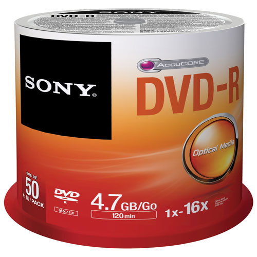 Sony 16X 4.7GB DVD-R Spindle - 50 Pack