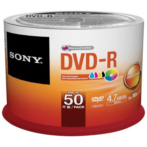 Disques DVD-R imprimables 16x 4,7 Go de Sony - Paquet de 50