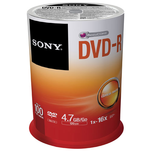 Sony 16X 4.7GB DVD-R Spindle - 100 Pack