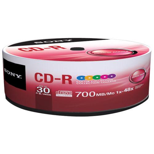 Disques CD-R 48x de 700 Mo de Sony - Paquet de 30