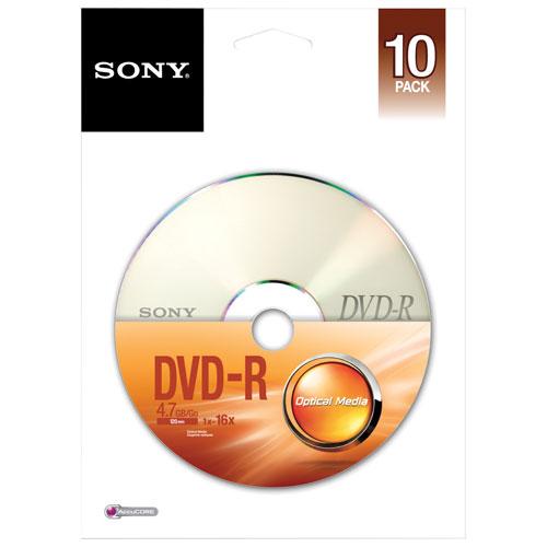 Disques DVD-R 16x de 4,7 Go de Memorex - Paquet de 10