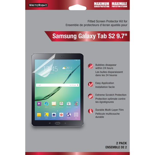 """Fellowes WriteRight Galaxy Tab S2 9.7"""" Screen Protector - 2 Pack"""
