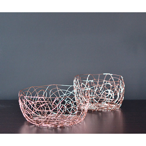 Fable Steel Wire Fruit Basket - Rose Gold