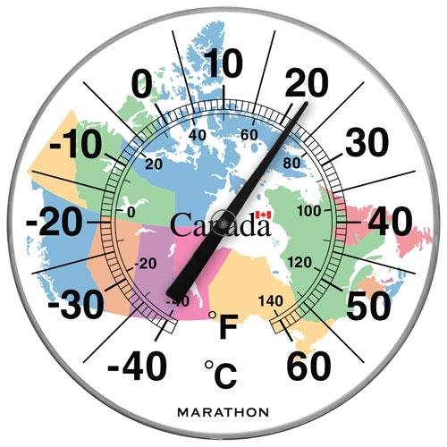 """Marathon Housewares 12"""" Jumbo Indoor/Outdoor Thermometer - Canada Map"""